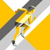 Uomo corrente Illustrazione di vettore di stile geometrico Colori il manifesto, la stampa o l'insegna di sport per la maratona Fotografia Stock