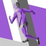Uomo corrente Illustrazione di vettore di stile geometrico Colori il manifesto, la stampa o l'insegna di sport per la maratona Immagini Stock