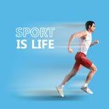 Uomo corrente poligonale Illustrazione geometrica di vettore Lo sport è vita illustrazione vettoriale