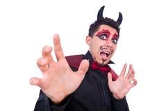 Uomo in costume del diavolo Immagini Stock