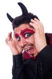 Uomo in costume del diavolo Fotografia Stock