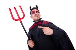 Uomo in costume del diavolo Immagini Stock Libere da Diritti