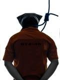 Uomo criminale con il cappio della boia intorno alla siluetta del collo Immagine Stock