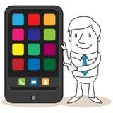 Uomo d'affari accanto allo smartphone enorme royalty illustrazione gratis