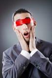 Uomo d'affari accecato dal nastro Fotografia Stock Libera da Diritti