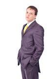 Uomo d'affari adulto su priorità bassa isolata Immagine Stock