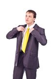 Uomo d'affari adulto su priorità bassa isolata Fotografie Stock Libere da Diritti