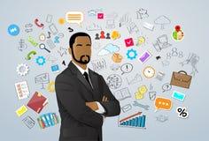 Uomo d'affari African American Race sopra la mano di scarabocchio royalty illustrazione gratis