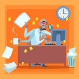 Uomo d'affari africano caricato con la gestione di tempo del lavoro royalty illustrazione gratis