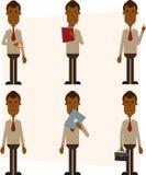 Uomo d'affari afroamericano con un computer portatile, la tazza, la cartella, la compressa e una cartella con le carte Immagini Stock