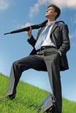 Uomo d'affari al prato Immagini Stock