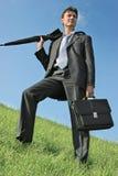 Uomo d'affari al prato Fotografia Stock Libera da Diritti