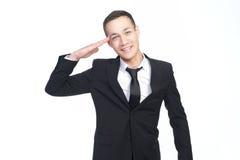 Uomo d'affari al vostro servizio Fotografie Stock