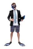 Uomo d'affari in alette e nella cartella delle mani degli occhiali di protezione immagini stock