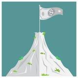 Uomo d'affari alla cima del picco della piramide dell'affare Vettore royalty illustrazione gratis
