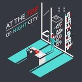 Uomo d'affari alla cima di una città di notte dentro Fotografia Stock Libera da Diritti