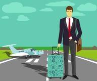 Uomo d'affari alla pista di decollo Fotografia Stock Libera da Diritti