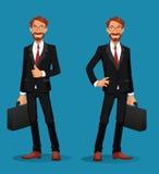 Uomo d'affari allegro che tiene una cartella con i pollici su Fotografia Stock
