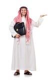 Uomo d'affari arabo con la cartella che si tiene per mano isolato Fotografia Stock