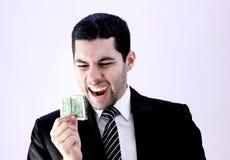 Uomo d'affari arabo felice con soldi Immagini Stock