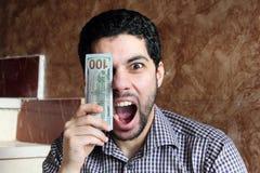 Uomo d'affari arabo felice con soldi Fotografie Stock Libere da Diritti