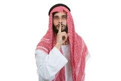 Uomo d'affari arabo nel concetto di silenzio isolato su bianco Fotografie Stock Libere da Diritti