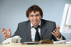 Uomo d'affari arrabbiato Fotografie Stock Libere da Diritti