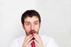 Uomo d'affari sorpreso con Fotografia Stock