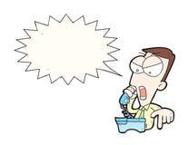 Uomo d'affari arrabbiato del fumetto che grida sul telefono con il fumetto Immagini Stock