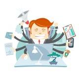 Uomo d'affari arrabbiato occupato Multitasking At Desk dei pantaloni a vita bassa in ufficio Fotografie Stock