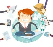 Uomo d'affari arrabbiato occupato Multitasking At Desk dei pantaloni a vita bassa in ufficio Fotografia Stock Libera da Diritti