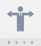 Uomo d'affari With Arrow Hands - icone del granito Immagini Stock