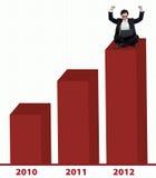 Uomo d'affari asiatico con il diagramma a colonna 2012 Immagini Stock