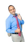 Uomo d'affari asiatico con il pollice sul gesto Immagini Stock