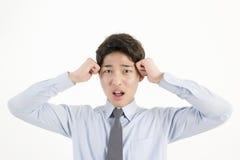 Uomo d'affari asiatico sollecitato Fotografia Stock Libera da Diritti