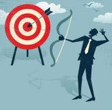 Uomo d'affari astratto Hits l'obiettivo di vendite. Fotografie Stock Libere da Diritti