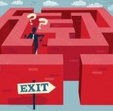 Uomo d'affari astratto Lost in un labirinto difficile. Fotografia Stock