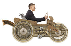 Uomo d'affari in automobile dello steampunk Fotografie Stock Libere da Diritti