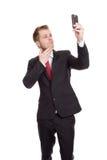 Uomo d'affari bello che prende un selfie Fotografie Stock Libere da Diritti
