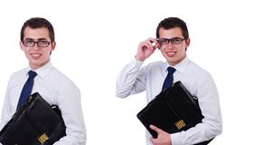 Uomo d'affari bello isolato sul bianco immagine stock libera da diritti