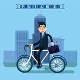 Uomo d'affari Biking Uomo d'affari che guida una bicicletta Fotografie Stock Libere da Diritti