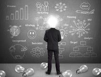 Uomo d'affari capo della lampada, concetto di idea Immagini Stock Libere da Diritti