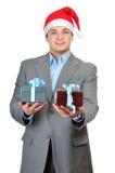 Uomo d'affari in cappello della Santa Fotografia Stock