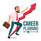 Uomo d'affari Career Planning Vector Concetto veloce di successo missione Freccia rossa enorme Più usufruiscono Fumetto isolato royalty illustrazione gratis