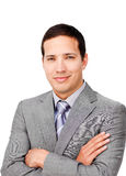 Uomo d'affari carismatico con le braccia piegate Fotografie Stock Libere da Diritti