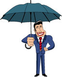 Uomo d'affari Cartoon Big Umbrella Immagine Stock