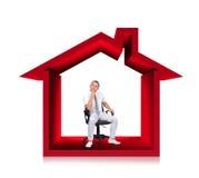 Uomo d'affari in casa 3d Immagine Stock