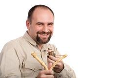 Uomo d'affari casuale con l'imbracatura Fotografia Stock