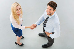 Uomo d'affari che agita le mani con una donna di affari Fotografia Stock