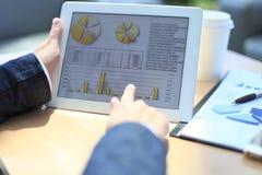Uomo d'affari che analizza le statistiche finanziarie Fotografia Stock Libera da Diritti